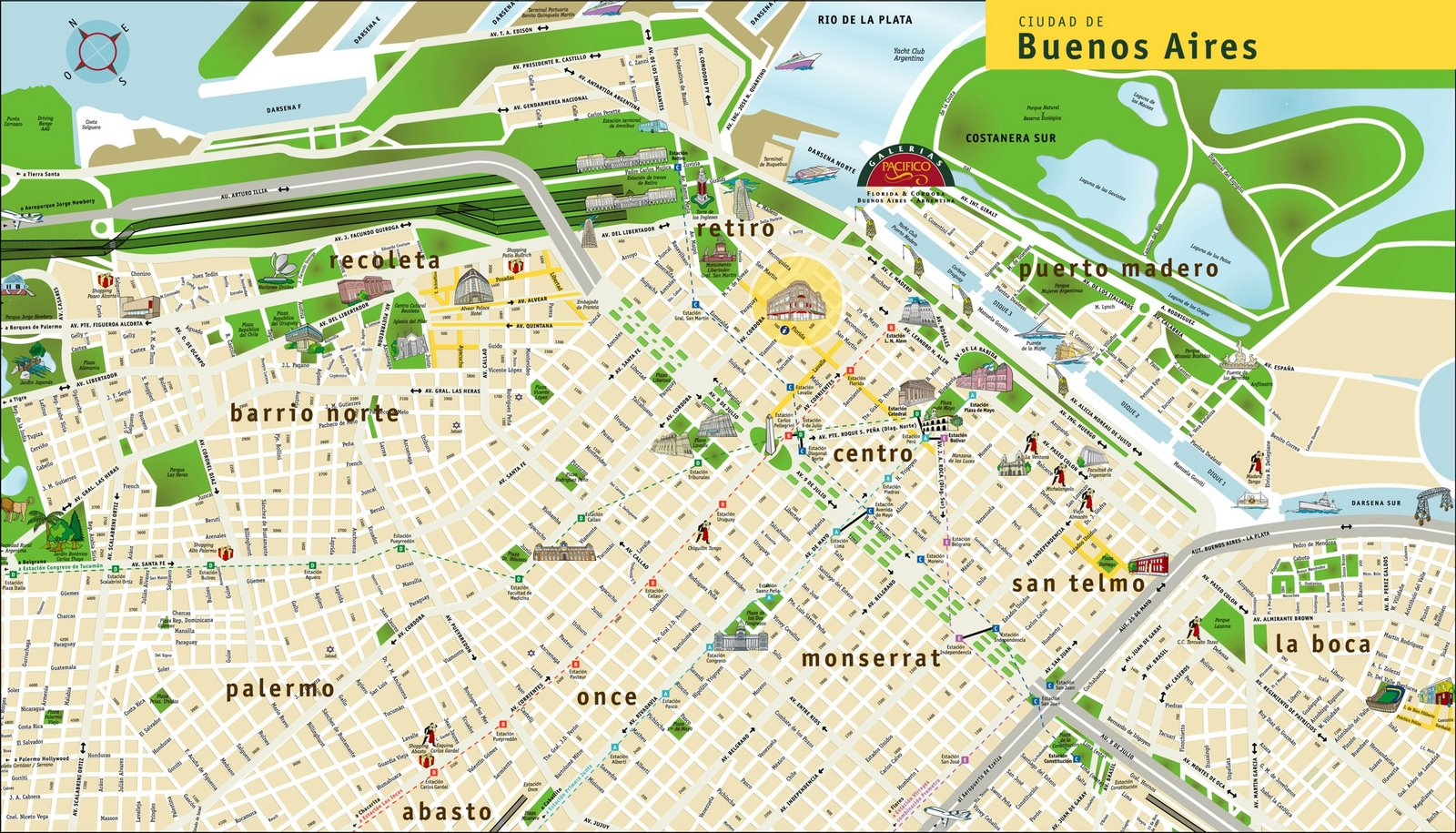 buenos aires travel map  click on image to enlarge. maps  buenos aires argentina